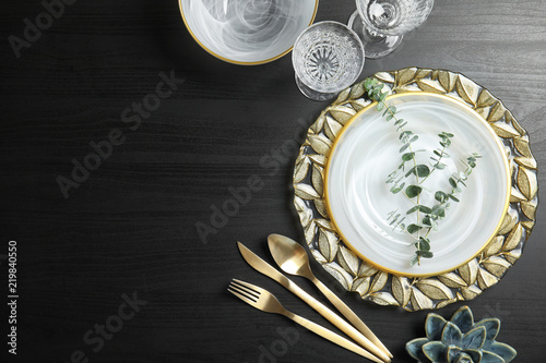 Cuadros en Lienzo Elegant table setting and space for text on dark background, top view