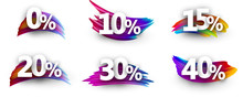 Discount Tags With Percent And Colorful Brush Strokes.