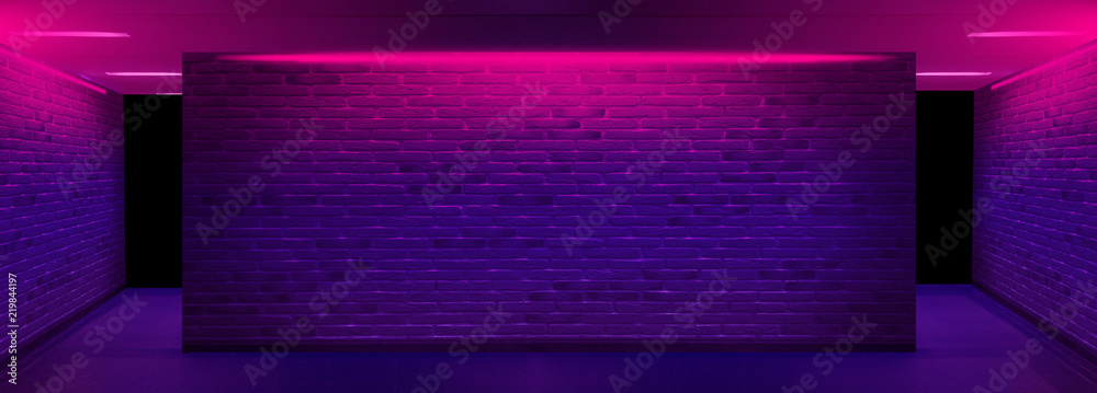 Fototapety, obrazy: Background of an empty corridor with brick walls and neon light. Brick walls, neon rays and glow