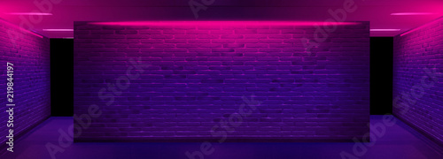 Background of an empty corridor with brick walls and neon light Wallpaper Mural