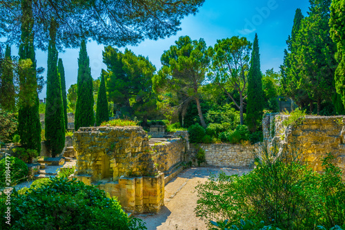 View of a garden inside of the Fort Saint Andre in Villenueve les Avignon, Franc Wallpaper Mural