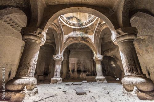 Tablou Canvas Geghard monastery interior cave chapel, Unesco heritage, Kotayk, Armenia