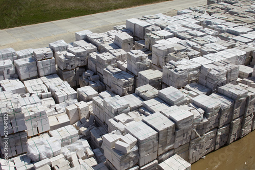Fotografia, Obraz  Aerial view of autoclaved aerated concrete blocks, both defective and good, on p
