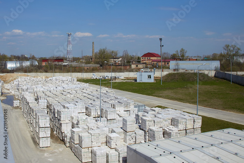 View of factory plant producing autoclaved aerated concrete Canvas Print