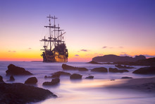 Old Ship Silhouette In Sunset ...