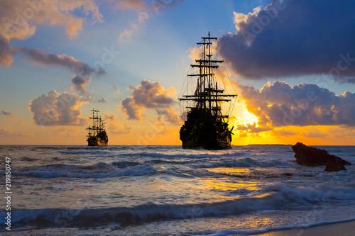 Türaufkleber Schiff Old ship silhouette in sunset scenery, Italy