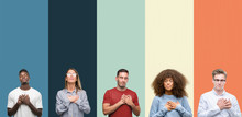 Group Of People Over Vintage Colors Background Smiling With Hands On Chest With Closed Eyes And Grateful Gesture On Face. Health Concept.