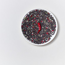 Colorful Decorative Pattern Of Species Various Kinds Of Peper And Pod Of Red Chili Pepper On A White Plate On A White.