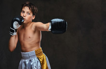 Handsome Shirtless Young Boxer During Boxing Exercises, Focused On Process With Serious Concentrated Facial. Isolated On The Dark Background.