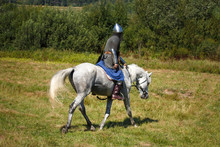 Reconstruction. Medieval Armored Knight On White Horse From Fantasy. Equestrian Soldier In Historical Costume. Reenactor Is In The Summer