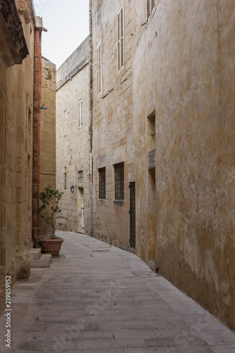 Narrow street in old town of Mdina on Malta