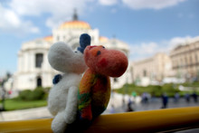 Moomin Troll Couple Travelling Around The Globe, Mexican Bella Palace On The Background, Mexico City, Palacio De Bellas Artes, Mexico
