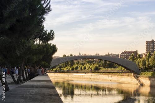 Bridge over Madrid Rio Canvas Print