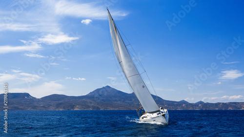 Sailfish sailing on the Sea near the coast of Greece.