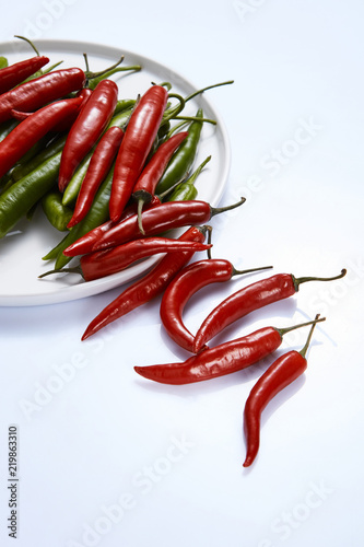Hot chili pepper green and red in a white plate on a white background Canvas Print