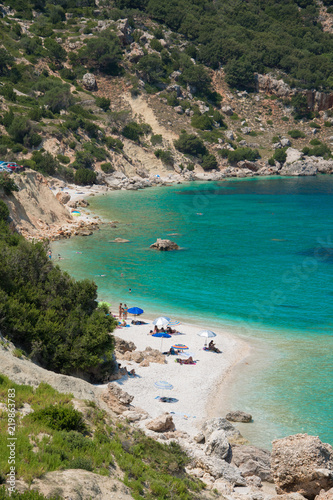 Garden Poster Cathedral Cove Vouti beach in Kefalonia ionian island, Greece. A secluded majestic beach with turquoise sea waters