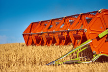 Combine Harvester - Threshing Machine, Cutting Device Gathers The Harvest (wheat) In The Field