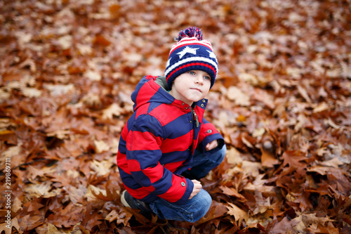 6fc8d073ba2 Funny child having fun in fall forest or park on cold day. With hat and ...  See More