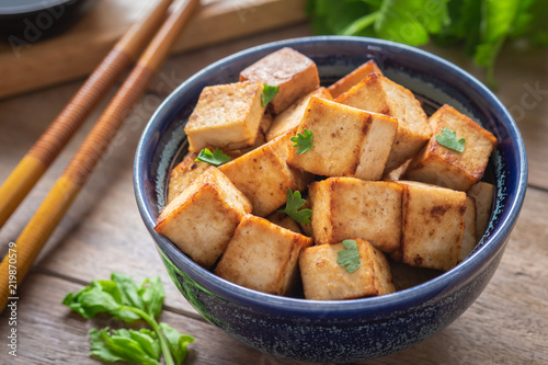 Fried tofu in bowl, Vegetarian food