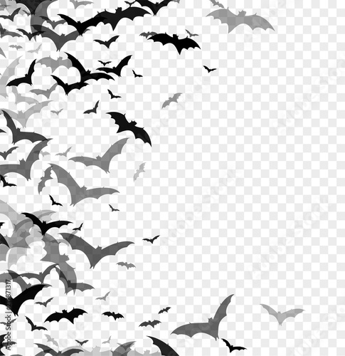 Stampa su Tela Black silhouette of bats isolated on transparent background