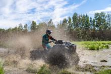 ATV Quad Rides Fast On Big Dir...