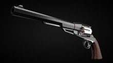 Long Barrel Revolver Design With Modern Looking Hard Cut Edges. 3d Illustration.
