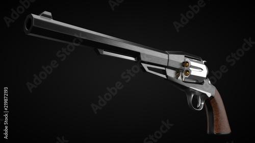 Fotografie, Obraz  long barrel revolver design with modern looking hard cut edges