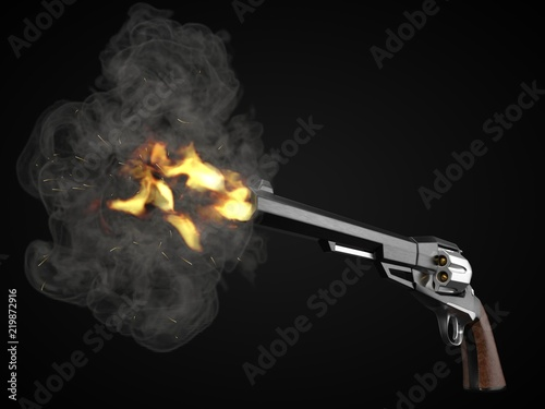 long barrel revolver design with modern looking hard cut edges Fototapet