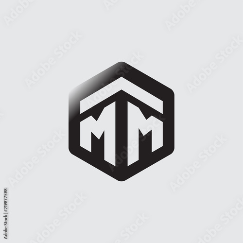 Fotografia  MM Initial letter hexagonal logo vector