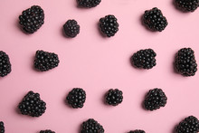 Flat Lay Composition With Ripe Blackberries On Color Background