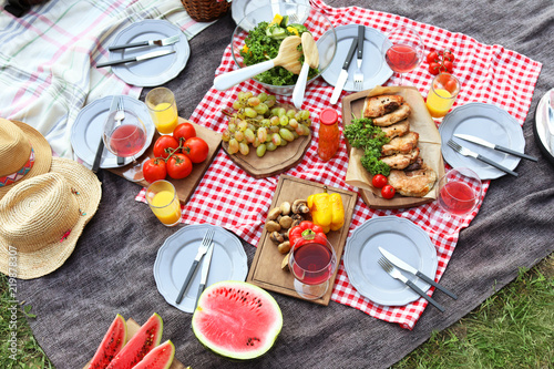 Photo Stands Picnic Blanket with food prepared for summer picnic outdoors