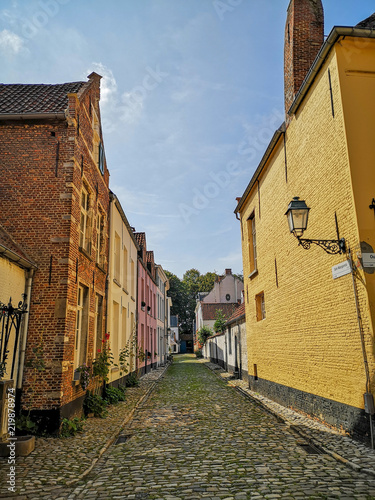Photo Narrow street with old beguine houses in the Unesco protected beguinage in the c