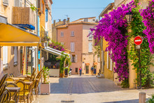 View Of A Narrow Street In The Center Of Saint Tropez, France