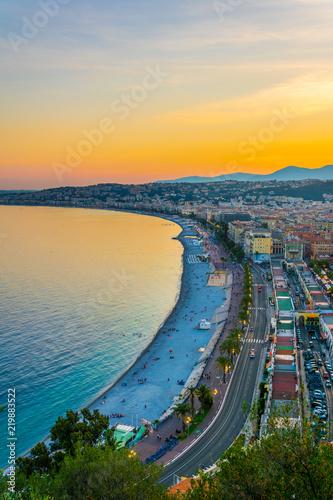 Deurstickers Nice Sunset view of Nice, France