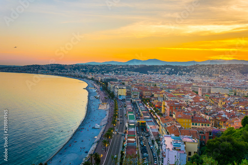 Deurstickers Nice Sunset view of Nice, France