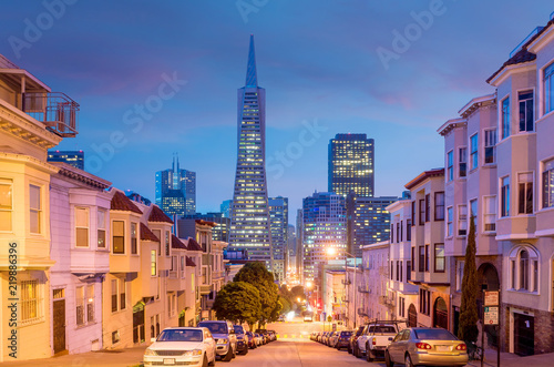Poster Verenigde Staten Downtown area of San Francisco at twilight