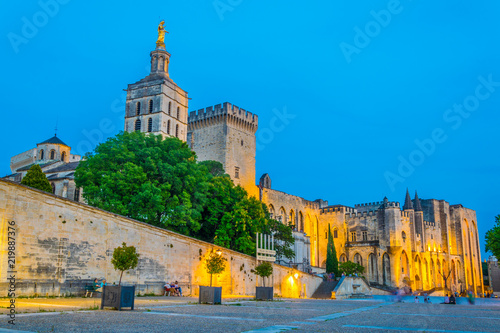 Poster Northern Europe Sunset view of Palais de Papes and the cathedral in Avignon, France