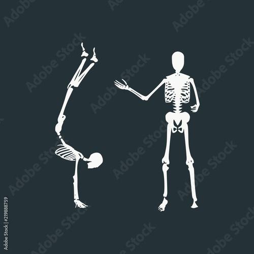 Human skeleton posing  Halloween party design template