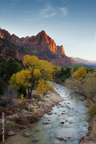 Printed kitchen splashbacks River Zion's Watchman at dusk