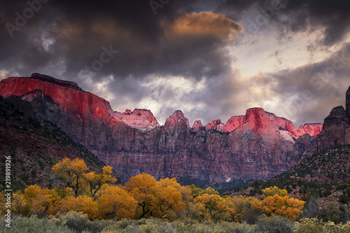 Tuinposter Cappuccino Towers of the Virgin in Zion National Park