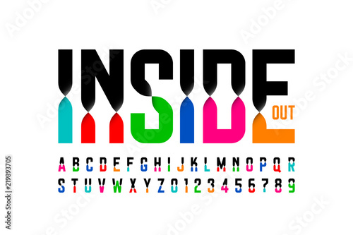 Colorful inside out font, alphabet letters and numbers Fototapet