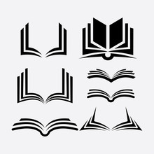 Set Of Book Logo Vector Silhou...