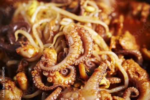 Korean spicy stir fried octopus
