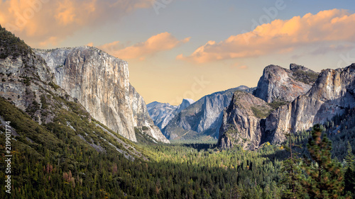 Beautiful view of yosemite national park at sunset in California Wallpaper Mural