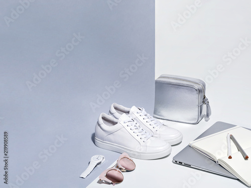 Fotografie, Obraz  Composition of woman accessories with laptop.