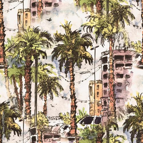 wzor-srodmiescie-z-ulica-i-budynkami-miami-city-na-florydzie-usa-powitalny-akwarela-z-recznie-rysowane-szkic-ilustracji-retro-kolorowe-sylwetki-akwarela-drzew-palmowych