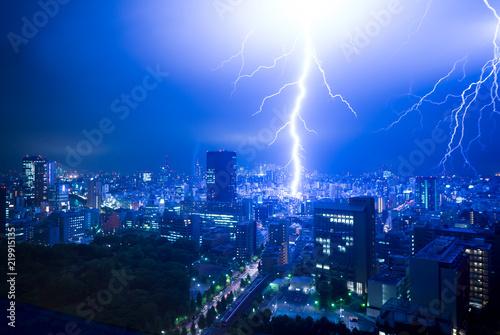Fotomural 落雷・東京・都心・ゲリラ豪雨・August 27, 2018
