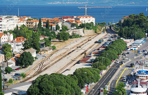 Foto auf AluDibond Bahnhof View on the Train Station and the Old Town in Split, Croatia.