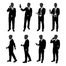 Vector Set Of Stand Businessman Silhouette. Businessman With Different Action Such As Using Mobile Phone , Walking , Working With Document File