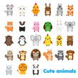 Cute animals. Big set of cartoon kawaii wildlife, forest and farm animals icons